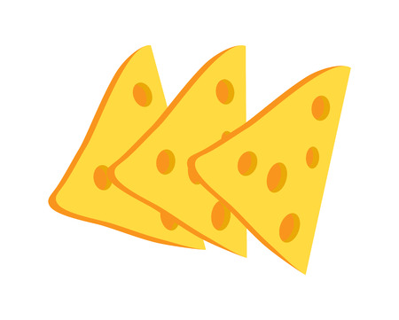 Cheese slices collection, cheese with holes in it, snacks and appetizer, perfect for sandwiches and cheeseburgers, isolated on vector illustration Çizim