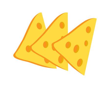 Raccolta di fette di formaggio, formaggio con buchi, snack e antipasti, perfetti per panini e cheeseburger, isolati su illustrazione vettoriale Vettoriali