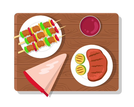 Food picnic collection dishes, wooden board and plates with meat, brochettes and sauce, serviette and picnic vector illustration isolated on white