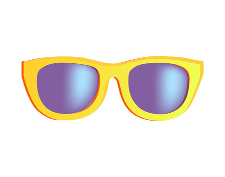 Stylish sunglasses in bright yellow rim. Fashionable glasses with tinted glass. Modern accessory that protects eyes from sunlight vector illustration.