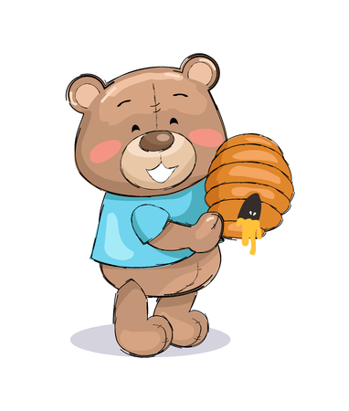 Male teddy bear in blue t-shirt holding hive full of honey and smile, gift for you on Saint Valentine s day vector illustration toy animal on white