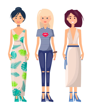 Three Casual Girls in Different Summer Clothing