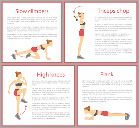 Slow climbers, triceps chop and high knees, plank tabata posters collection, text sample and tabata exercises vector illustration isolated on white Reklamní fotografie - 104294668