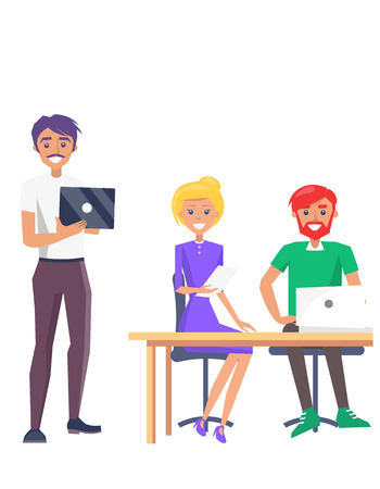 Happy Employees Colorful Card Vector Illustration