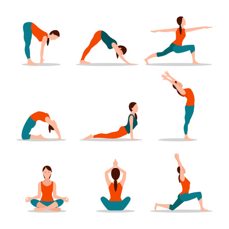 Yoga collection of poses, set of poses yoga, lotus and woman activities, lunges and workout exercises vector illustration isolated on white background