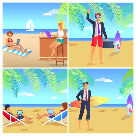 Four colorful posters with businessmans on beach vector illustration with blessed people on vacation lot of surfboards wireless devices cute landscape Illustration