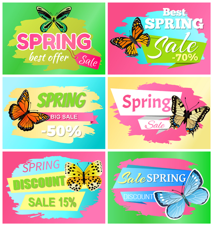 Best spring big sale banners with headlines in ribbons, butterflies types, spring sale and discount vector illustration isolated on green background