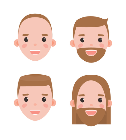 Male heads shaved and bearded with hairstyles set. Mens heads with long and short brown hair, smooth and hairy faces isolated vector illustrations.