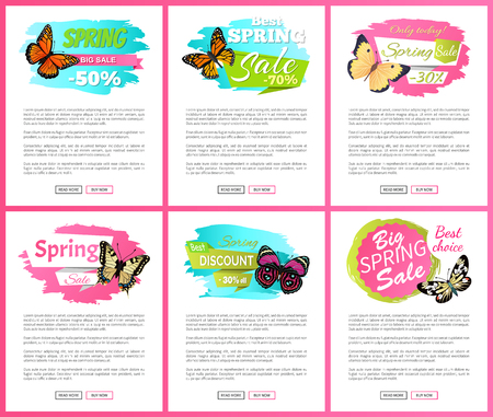 Morpho springtime creatures vector promo labels sale concept. Sale spring discount labels on online poster butterflies with dots, ornaments and antenna, Illustration