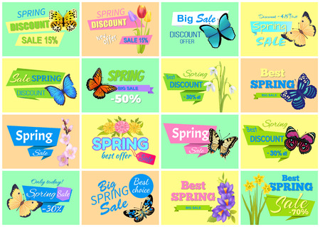 Spring discount sale set of posters with flowers butterflies and headlines, spring discount collection vector illustration isolated on yellow and blue