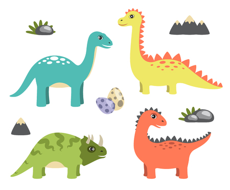 Dinosaurs collection and icons of mountain, rock and eggs, triceratops and sauropods dinosaurs, vector illustration, isolated on white background