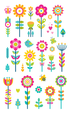 Set of springtime flowers, bees butterflies and birds, collection of spring blooming patterns, creative plants and flower buds, vector grass and bushes