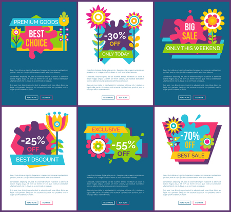 Exclusive sale only this weekend promotional web pages. Discount for premium goods commercial posters. Online sale banners vector illustrations set.
