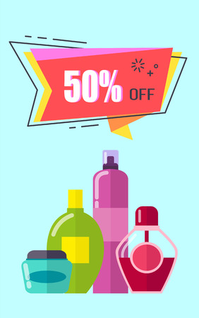 Off -50 placard with cosmetic products and headline in geometric shape, lotions and liquids in containers, vector illustration, isolated on blue Illustration