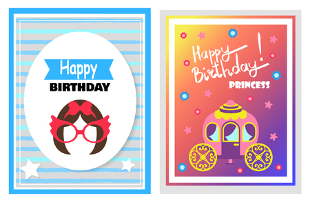 Happy Birthday little princess, set of cards with greetings, hairstyle and glasses, carriage and flowers with stars, isolated on vector illustration