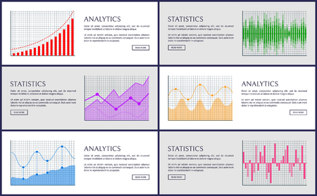 Analytics and Statistics, Color Charts Collection Illustration
