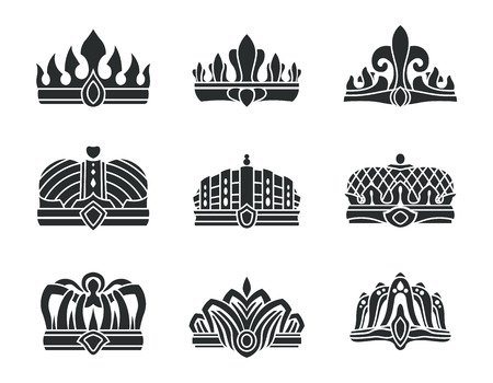 Royal crowns with unusual design monochrome set. Crowns with sharp top and in form of hat. Heraldic symbols of power isolated vector illustrations.