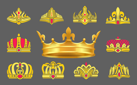 Luxurious gold crowns inlaid with ruby stones set. Heraldic accessories for whole royal family. Expensive crowns of gold vector illustrations set.