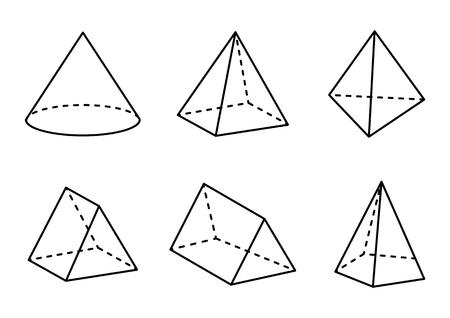 Conjunto de figuras geométricas aisladas sobre fondo blanco