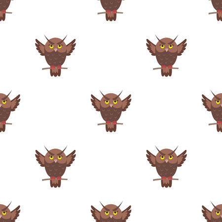 Cartoon owl seamless pattern on white background. Brown eagle-owl bird endless texture. Vector illustration of wildlife flying character, wallpaper wrapping paper design repeatable structure Illustration