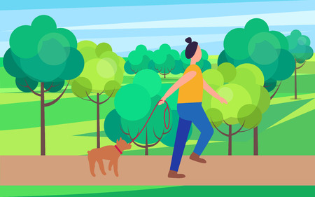 Woman Walking Dog in Park Vector Illustration