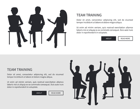 Team training people black silhouettes sit on chairs, discuss issues and raise qualification isolated flat vector illustration on white background