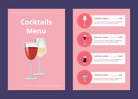 Cocktail menu advertisement poster with closeup of wineglasses, vector of drinks ingredients, types and price on pink background, shop list design