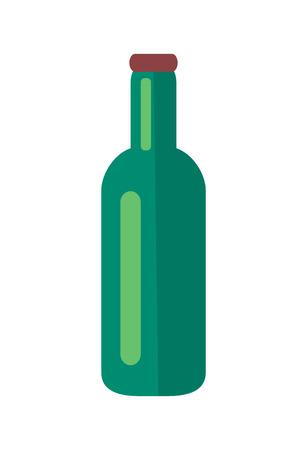 Glass Bottle of Beer Isolated Illustration