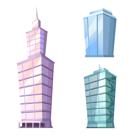 Skyscraper Glass Building Isolated on White Vector Reklamní fotografie - 104454918