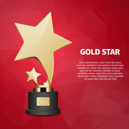 Gold Star Vector Web Banner with Gold Statuette
