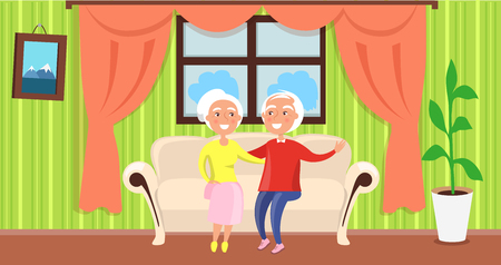 Grandparents Day Poster with Mature Husband Wife Illustration