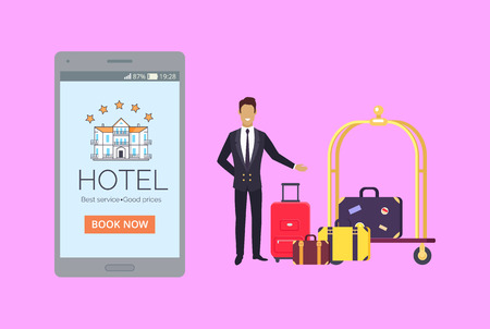 Advertising banner depicting smartphone with luxury hotel on its screen, suitcases on luggage cart and doorman dressed in suit welcoming guests