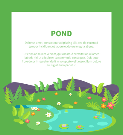 Pond banner with place for text and tropical bushes and green leaves, flowers of different color, water lilies on background of hills or stones Illustration