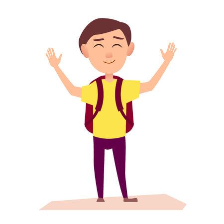 Boy in yellow T-shirt with maroon rucksack raise hands up with happy face isolated vector illustration on white background.