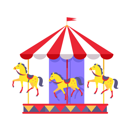 Merry-go-round with funny horses in saddles and striped roof with red flag on top isolated vector illustration on white background. Illustration