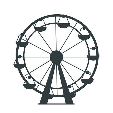 Schwarze Silhouette des Riesenrads mit vielen farblosen Kabinen für Vergnügungspark oder Kinderspielplatz. Isolierte Vektorillustration auf weißem Hintergrund
