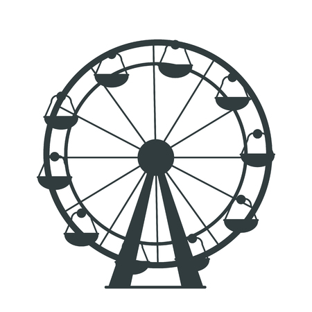 Black silhouette of Ferris Wheel with lots of colorless cabs for amusement park or children playground. Isolated vector illustration on white background