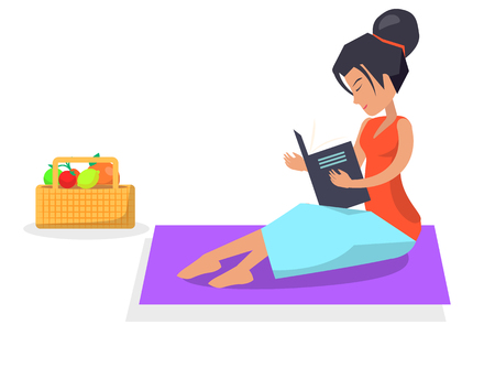 Woman sits on purple blanket, reads book and basket with fresh fruits stands beside isolated vector illustration on white background.