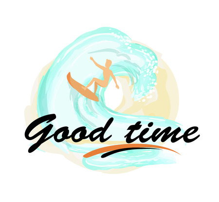 Good Time Background with Man on Surfboard Surfing Illustration