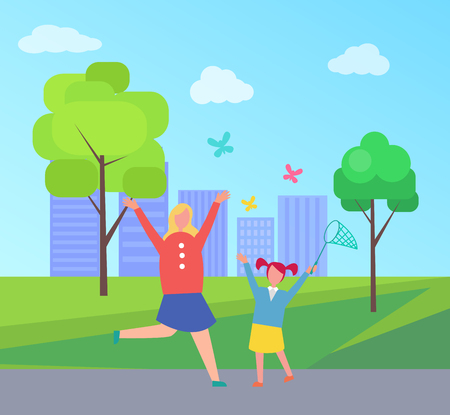 Excited mother and young daughter running, hopping and trying to catch colorful butterflies with net on background of city park with skyscrapers vector