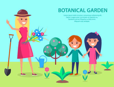 Botanical garden illustration with smiling woman gardener in hat and boy with girl standing on lawn going to plant flowers vector Illustration