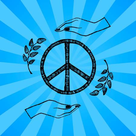 International peace day poster with two hands protecting sign of freedom vector illustration with olive branches on blue background with rays Illustration