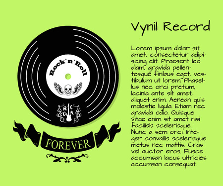 Vinyl record and rock and roll forever poster. Vector illustration of forever sign with vinyls disc with skull and wings above on light green background Vectores
