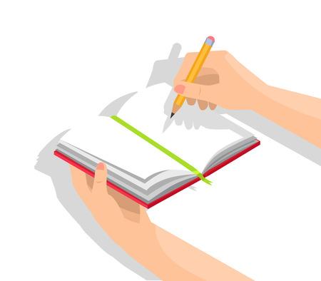Gros plan du cahier avec des pages vierges se tenant dans la main gauche avec un crayon graphite dans une illustration vectorielle isolée à droite sur fond blanc Vecteurs