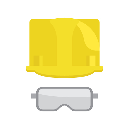 Construction yellow helmet and protective glasses or goggles flat vector icons isolated on white background. Industrial equipment for worker protection illustration Ilustração