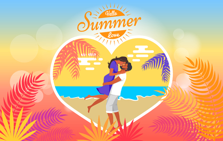 Hello summer love heart shape poster with man lifting his girlfriend and kissing on seaside under palm tree vector on background of sea and sky
