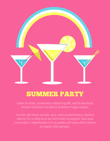 Summer Party Poster with Martini Glasses Vector