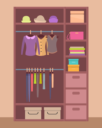 Wooden wardrobe with bright clothes on hangers and neatly piled, warm hats on top shelf and compact boxes that stands in hall vector illustration. Illustration