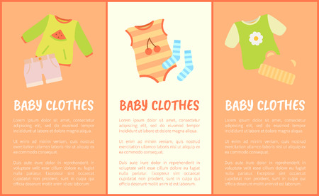 Baby Clothes set, multicolored vector illustration isolated on bright backdrops, baby hat and socks, shirts and suit, cute children s striped apparel