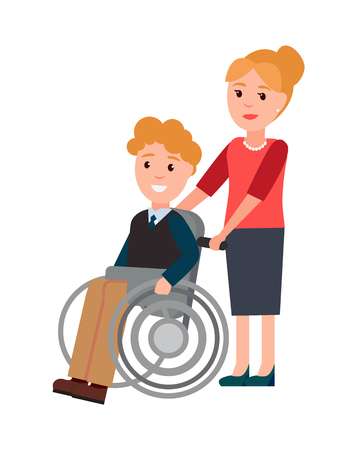 Disabled man and woman care, people with good emotions, gentleman sitting in wheelchair and smiling, vector illustration isolated on white background